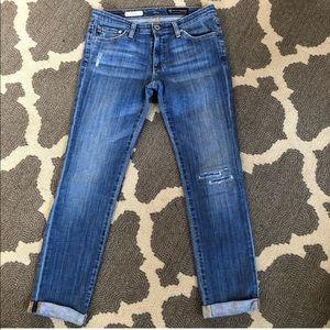 AG Premiere Skinny Straight Rolled Hem Jeans